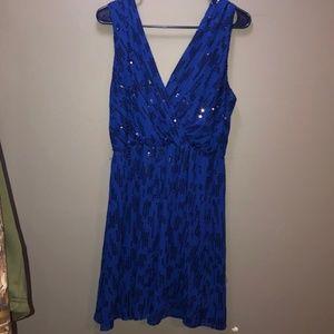 Express Royal Blue Sequin Dress with Empire Waist